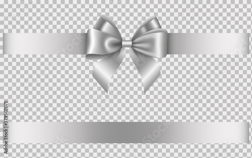 Fotografering silver ribbon with bow