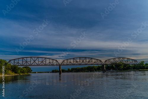 Fotografia, Obraz BNSF rail bridge across Missouri River near Bismarck North Dakota