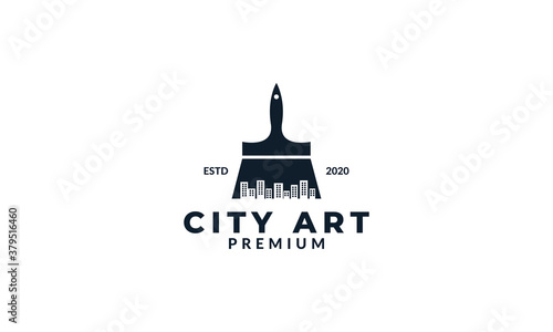 Fotografía illustration brush paint art with city building logo icon vector