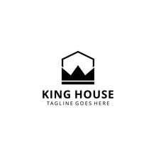 Creative Modern Minimalist House With King Crown Sign Logo Design Template