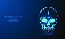 Skull On Blue Abstract Background. Simple Blue Background. Starlight Background