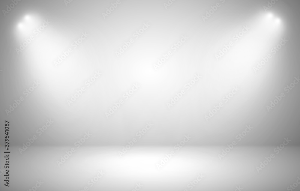 Empty wall with spotlights background for product show with Elegant light and Cement floor. interior room with spots light.