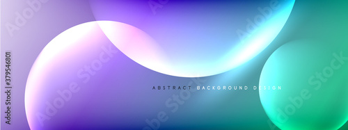 Fototapeta Vector abstract background liquid bubble circles on fluid gradient with shadows and light effects. Shiny design templates for text obraz