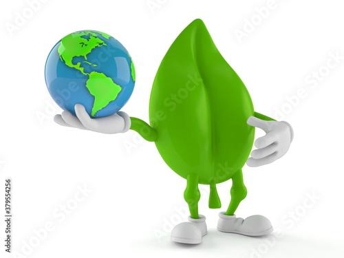 Fototapeta Leaf character holding world globe obraz