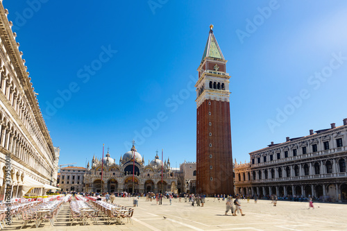 Scenic view of principal public square of Venice Piazza San Marco overlooking Ba Canvas