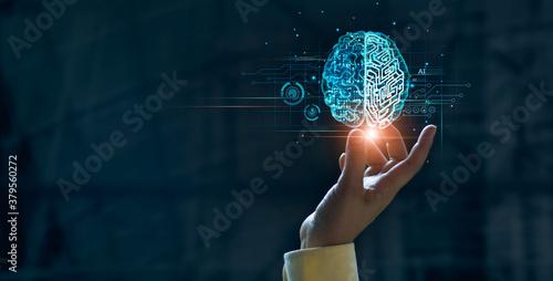 Hand touching brain of AI, Symbolic, Machine learning, artificial intelligence of futuristic technology Canvas Print