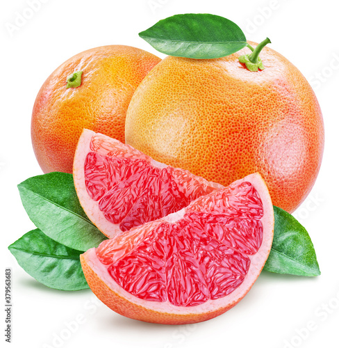 Fotografie, Obraz Grapefruits with leaves and grapefruit slices isolated on a white background