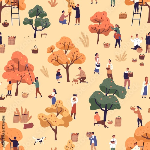 Happy people picking fruits seamless pattern. Smiling man, woman and children gathering apples in garden vector flat illustration. Cartoon person with autumn harvest or seasonal agricultural work