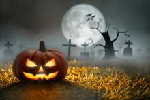 Halloween Pumpkin In Graveyard...