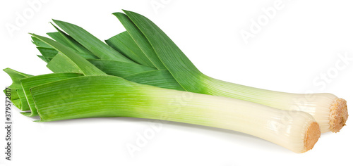 Fototapeta leek isolated on white background. with clipping path. full depth of field obraz