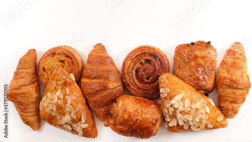 assorted of pastries isolated on white background Canvas Print