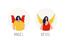 Angel And Demon Avatars. Vector Flat Illustration With Good And Bad Women