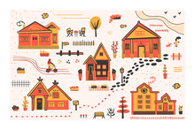 Childish Collection Of Street Urban Elements. Vector Flat Illustration With Houses, Trees, Roads, Fences And Other Objects Of The City Environment