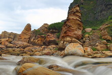 Coastal Rock Formations In Nanya, Northeast Coast National Scenic Area, Taipei Taiwan.