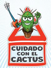Cuidado Con El Cactus - Dibujo Animado Vectorial 2