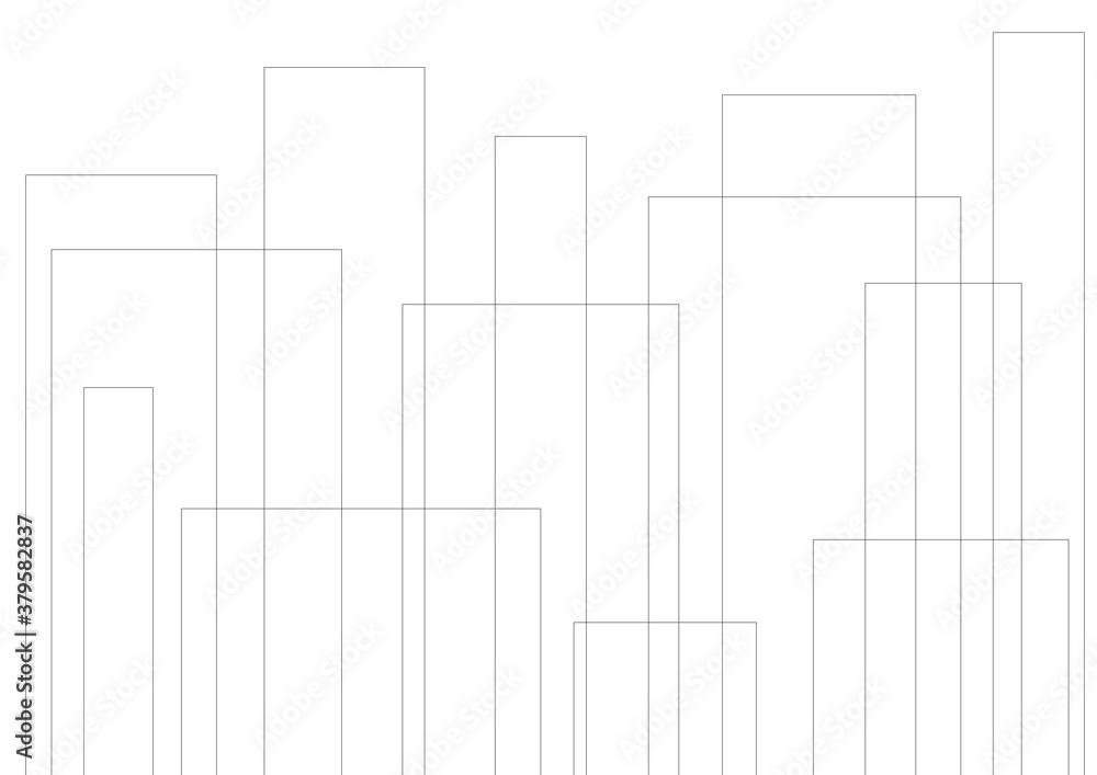 Fototapeta ビル マンション 構造 高層 街 都市 線画 線 ベクター 素材 AI eps JPEG 画像