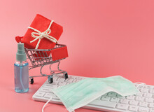 Red Gift Box In Shopping Cart,...