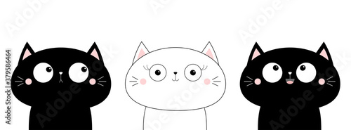Fototapeta Cat head face line contour silhouette icon set. Funny kawaii doodle animal. Cute cartoon funny pet character. Flat design. White background. Notebook cover, tshirt, greeting card, sticker print obraz