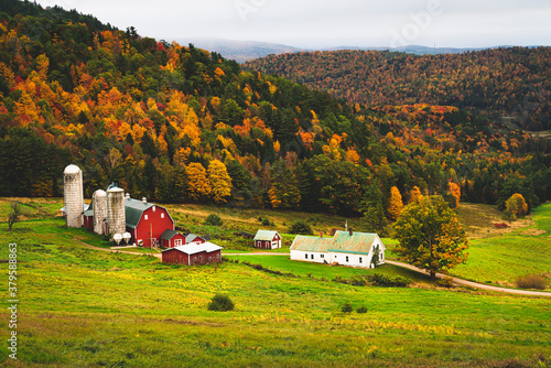 Wallpaper Mural Rustic farm scene in rural vermont during autumn with fall colors changing and a