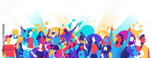 Canvas Print Festaioli, uomini e donne che ballano, festeggiano, si divertano
