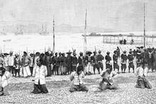 Execution Of Pirates In China. Circa 1890. Antique Illustration. 1891.