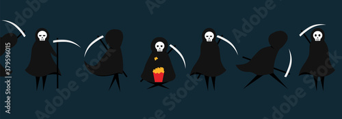 Fotomural Set of death character with scythe for Halloween