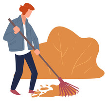 Autumn Chores, Character Raking Dry Leaves Cleaning Yard