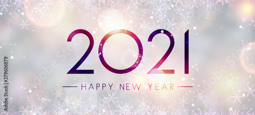 Fototapeta 2021 happy new year sign on misted glass. obraz