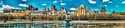 Suburban Residence of the France Kings - beautiful Chateau Fontainebleau with the fountain on foreground Canvas