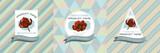 Fototapeta Tulipany - Three colored labels with illustration of tulip