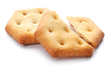 Crispy Crackers Isolated On Wh...
