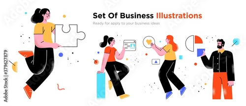 Fototapeta Business Concept illustrations. Collection of scenes with men and women taking part in business activities. Trendy vector style. obraz