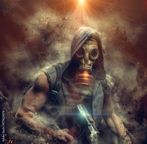 Fotomural Male in a gas mask and a sledgehammer in his hand shrouded in smoke