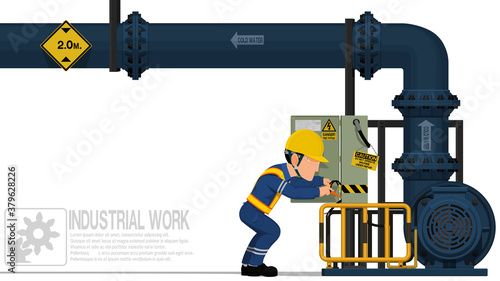 Fototapeta An electrical worker is repairing the electrical cabinet on white background obraz