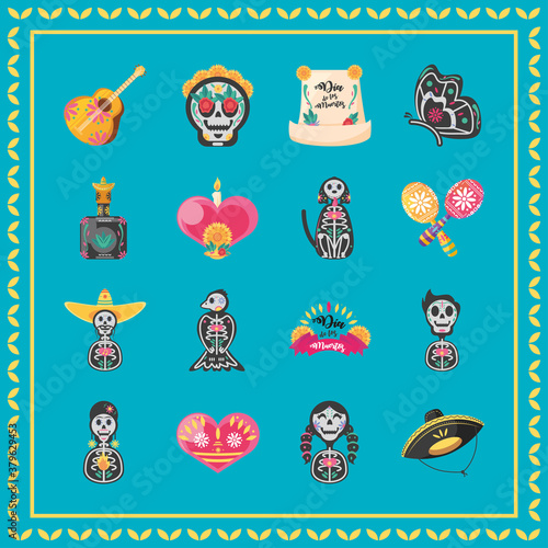 Fototapeta Mexican day of dead detailed style icons collection vector design obraz