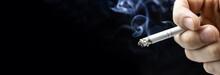Cigarette Hand Black Background