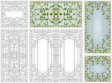 Stained Glass Set. Abstract Geometric Floral Pattern In A Rectangular And Square Frame / Colorful Stained Glass Window In Classic Style For Ceiling Or Door Panels, Tiffany Technique. Vector Set
