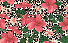 Seamless Pattern With Red Flowers Animal