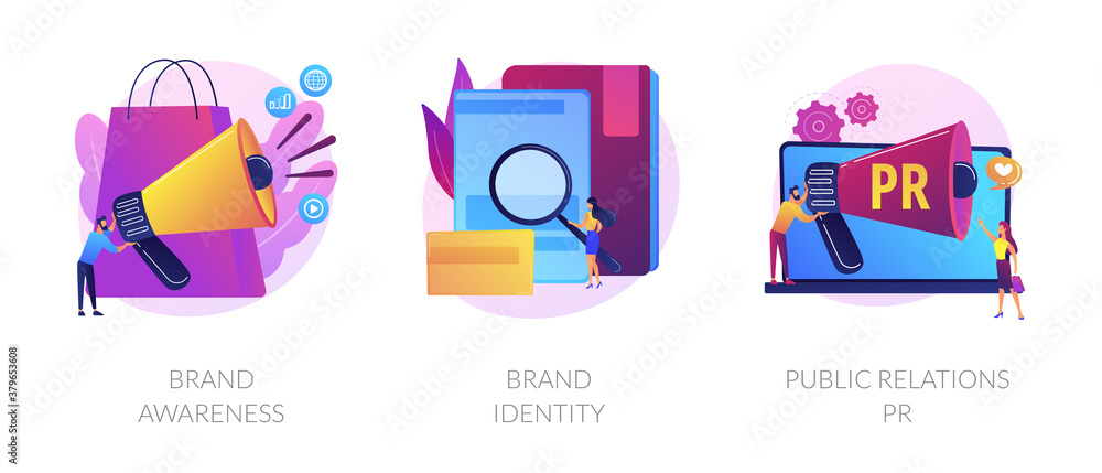 Fototapeta Commercial advertising service, company recognition, public relations management icons set. Brand awareness, brand identity, pr metaphors. Vector isolated concept metaphor illustrations