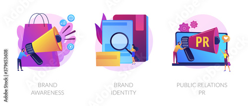 Commercial advertising service, company recognition, public relations management icons set. Brand awareness, brand identity, pr metaphors. Vector isolated concept metaphor illustrations