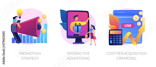 Obraz Marketing campaign planning, targeted ad, expenses analysis. Promotion strategy, interactive advertising, cost per acquisition CPA model metaphors. Vector isolated concept metaphor illustrations - fototapety do salonu