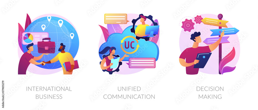 Fototapeta Business communication and collaboration, teamwork, partnership. International business, unified communication, decision making metaphors. Vector isolated concept metaphor illustrations.