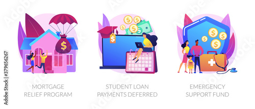 Coronavirus stimulus package plan abstract concept vector illustration set. Mortgage relief program, student loan deferred payment, emergency response support fund, government help abstract metaphor.