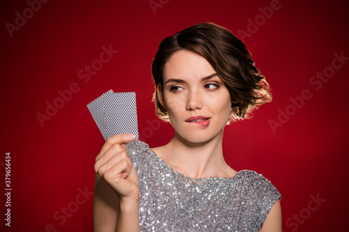 Closeup photo of attractive tricky lady professional casino player hold two card Wallpaper Mural