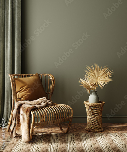 Modern dark green home interior with rattan furniture and dry palm leaves in vase, 3d render - 379660292