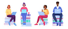 Vector Online Education Set With Young People, Books, Diverse Students, Laptops. Smiling Women And Man Learning In Internet. Virtual Studying Collection With Diverse Students In Cartoon Flat Style