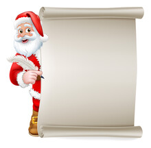 Santa Claus Cartoon Character Peeking Around A Scroll Sign Holding A Quill Pen. Christmas Gift, Naughty And Nice List Or Letter To Santa Concept.