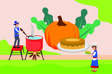 Thanksgiving Vector Concept: Man And Woman Cooking Corn Soup With Pumpkin And Pie Background