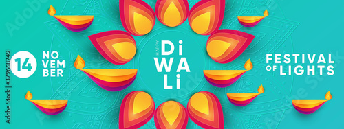 Fototapeta Diwali Hindu festival greeting design in paper cut style with oil lamps and beautiful bright flower of lights. Holiday background for branding greeting card, banner, cover, flyer or poster obraz