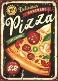 Delicious pizza slice on black board background. Vintage pizzeria or fast food restaurant tin sign.  Italian cuisine retro poster design.